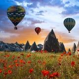 Hot air balloons flying over Cappadocia, Turkey Royalty Free Stock Photos