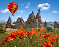 Hot air balloons flying over Cappadocia, Turkey Royalty Free Stock Photos