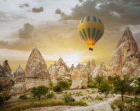 Hot air balloons flying over Cappadocia, Turkey Stock Photo