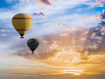 Hot air balloons flying over Cappadocia, Turkey stock images