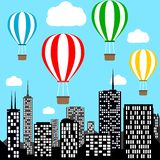 Hot air balloons flying over city vector illustration