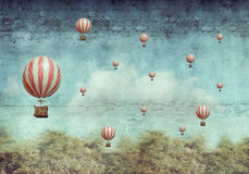 Hot air balloons flying over a forest Stock Photos