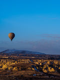 Hot air balloons flying over the mountain royalty free stock image