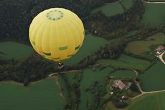 Hot air balloons. Flying through the region of the garrotxa royalty free stock photos