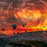 Hot Air balloons flying tour over Mountains landscape spring sunrice hurricane fantastic sky