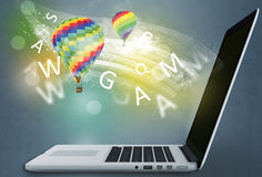 Hot air balloons flying in the wind computer. Stock Photography