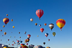 Hot air balloons going up Royalty Free Stock Photo