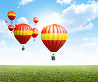 Hot Air Balloons On Green Grass Stock Image