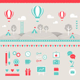 Hot Air Balloons, Hills, Clouds, Trees and Tents Landscape. Design Elements Stock Photography
