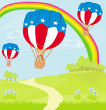 Hot Air Balloons of 4 of July in Flight Royalty Free Stock Photo