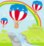 Hot Air Balloons of 4 of July in Flight Royalty Free Stock Images