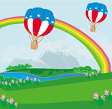 Hot Air Balloons of 4 of July in Flight Stock Photo