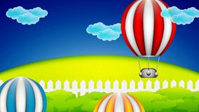 Hot air balloons in the air stock footage
