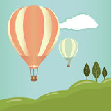 Hot air balloons landscape Stock Photos