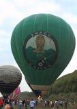 Hot air balloons lifting off stock image