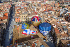The hot air balloons on the main square of the historic Spanish city of Vic, Spain Royalty Free Stock Photos