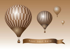Hot air balloons. With message on banner. Vector illustration Stock Images