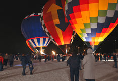 Hot Air Balloons - Moon Glow. Winter event Stock Image