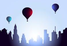 Hot Air Balloons Morning-Vector Royalty Free Stock Photo