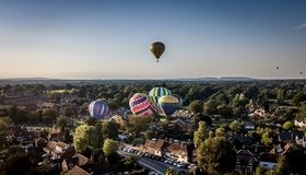 Hot air balloons. Multiple hot air balloons festival Wisborough Green stock image