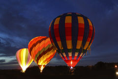 Hot Air Balloons at Night Stock Photo