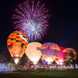 Hot air balloons at night during Thailand International Balloon Festival Royalty Free Stock Images
