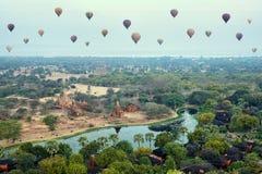 Hot air balloons over the Bagan plain at sunrise