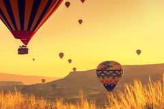 Hot air balloons over Cappadocia Stock Images
