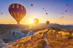 Hot air balloons over Cappadocia Stock Photo