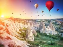 Hot air balloons over Cappadocia stock photos