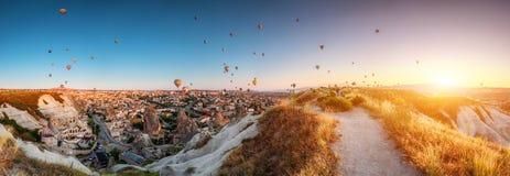 Hot air balloons over Cappadocia stock images