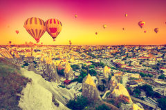 Hot air balloons over Cappadocia Royalty Free Stock Photo