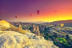 Hot air balloons over Cappadocia royalty free stock photo