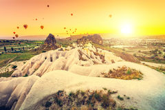 Hot air balloons over Cappadocia Royalty Free Stock Images