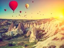 Hot air balloons over Cappadocia stock photography