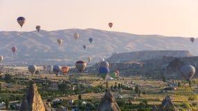 Hot Air Balloons over Cappadocia Stock Photo