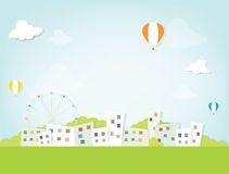 Hot air balloons over the city Stock Photo