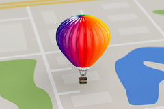 Hot Air Balloons over City Map. 3d Rendering. Hot Air Balloon over City Map extreme closeup. 3d Rendering Royalty Free Stock Photography