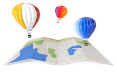 Hot Air Balloons over City Map. 3d Rendering. Hot Air Balloons over City Map on a white background. 3d Rendering Stock Photos