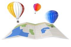 Hot Air Balloons over City Map. 3d Rendering Stock Photos