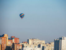 Balloon over the city royalty free stock photography