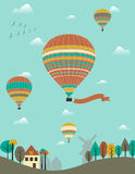 Hot air balloons. Over the country Royalty Free Stock Photo
