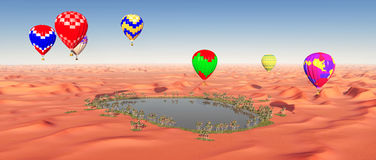 Hot air balloons over a desert oasis Stock Image