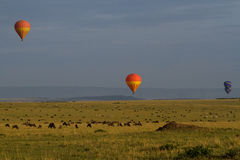 Hot air balloons over endless plains Royalty Free Stock Photo