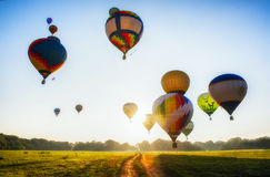 Hot-air balloons over field Royalty Free Stock Image