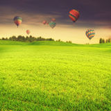 Hot air balloons over green summer meadow Stock Photo