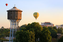 Hot air balloons over  Luxor at sunrise Royalty Free Stock Image