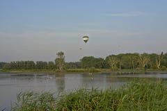 Hot air balloons over marshland Royalty Free Stock Photo