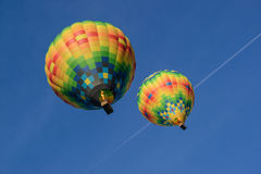 Hot air balloons over Napa Valley California. Two hot air balloons float across the sky in Napa Valley California Royalty Free Stock Image