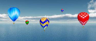 Hot air balloons over ocean. Computer generated 3D illustration with hot air balloons over ocean Stock Photos